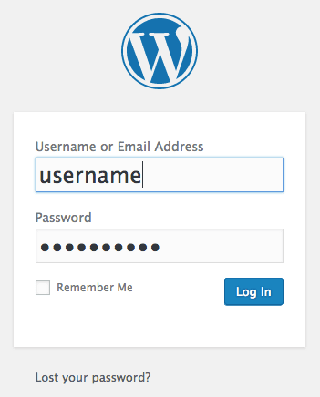 After following the previous steps you'll then be able to login to the WordPress Admin control panel.