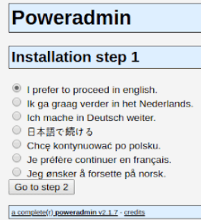 When setting up Poweradmin you'll first be asked to pick your language.