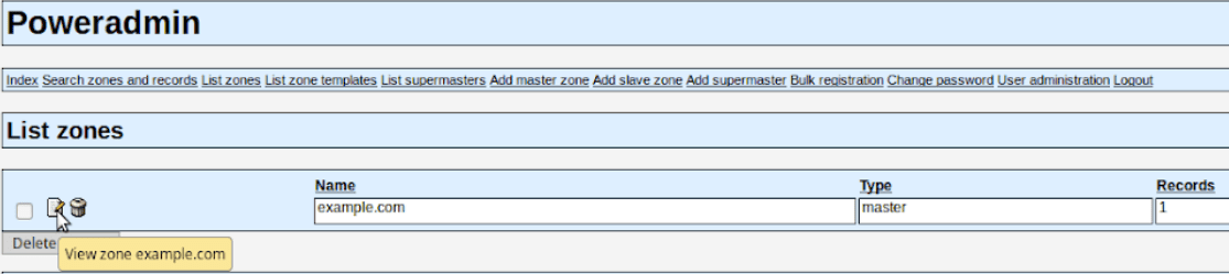 In Poweradmin you can also edited existing records.