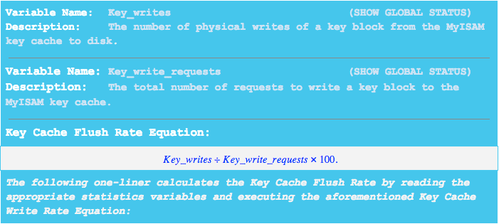 Use this formula to calculate key cache flush rate.