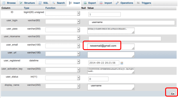 Update your WordPress email address by selecting the wp_user table, along with the particular user.