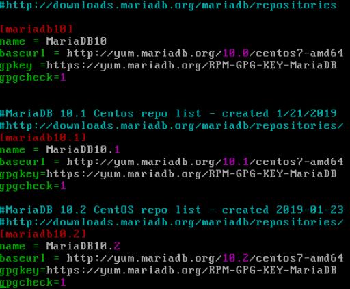 command line enable mariadb repo