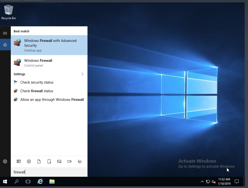 """On a Windows server, click on the search icon and type """"firewall"""" and then click on """"Windows Firewall with Advanced Security"""" to access this built-in firewall."""