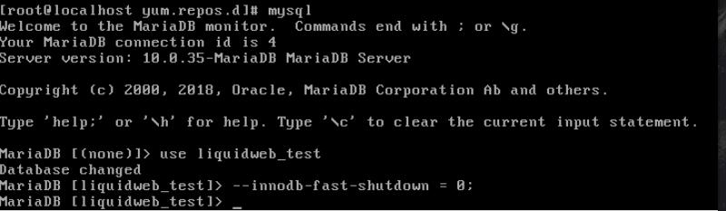 command line innodb fast shutdown