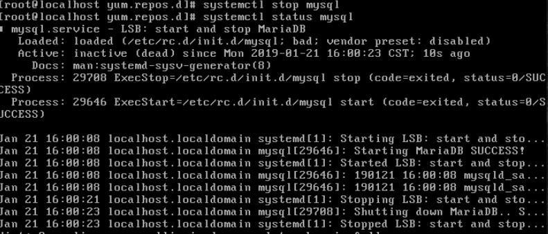 command line verify mysql is stopped