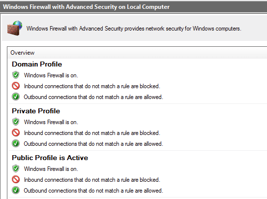 The Windows Firewall shows the different kinds of profiles it employs.