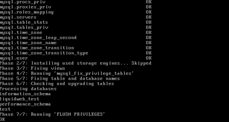 command line check mysql for upgrade