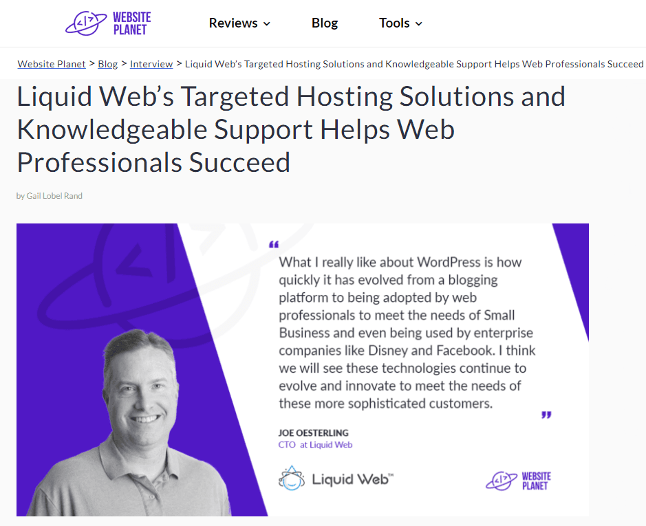 Interview with Website Planet and Joe Oesterling, CTO Liquid Web