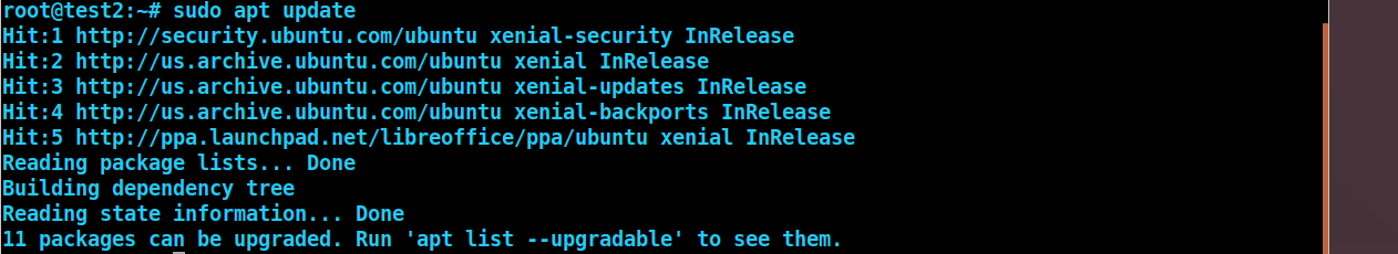 ubuntu sudo apt update output from the commandline