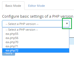 php ini editor basic mode