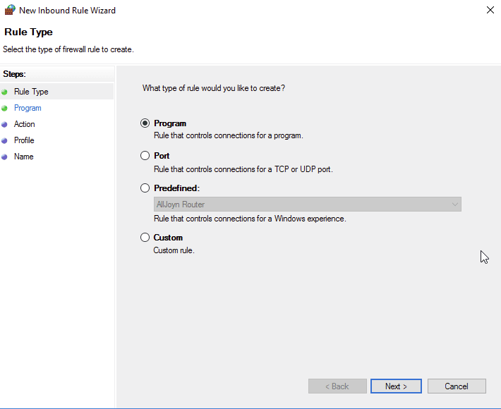For a firewall rule to be applied to a specific program, create a new rule and then select program in the Rule Type section.