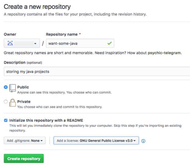 You can create a repo in github.com by filling out this form.