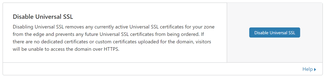 Disable Universal SSL