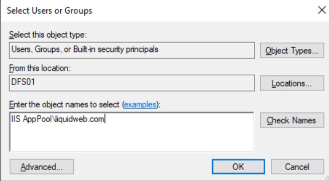 IIS AppPool\<applicationpoolname>