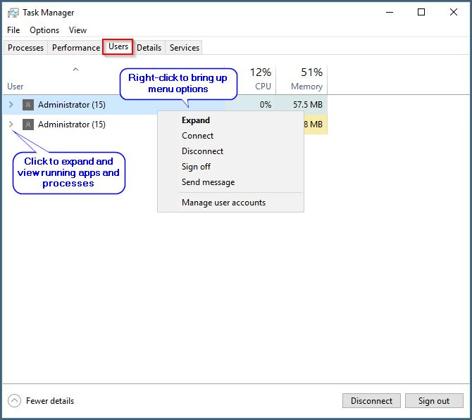 task manager users view