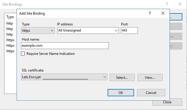 add SSL site bindings