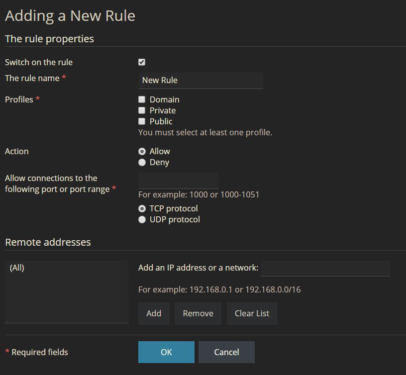 add a new firewall rule