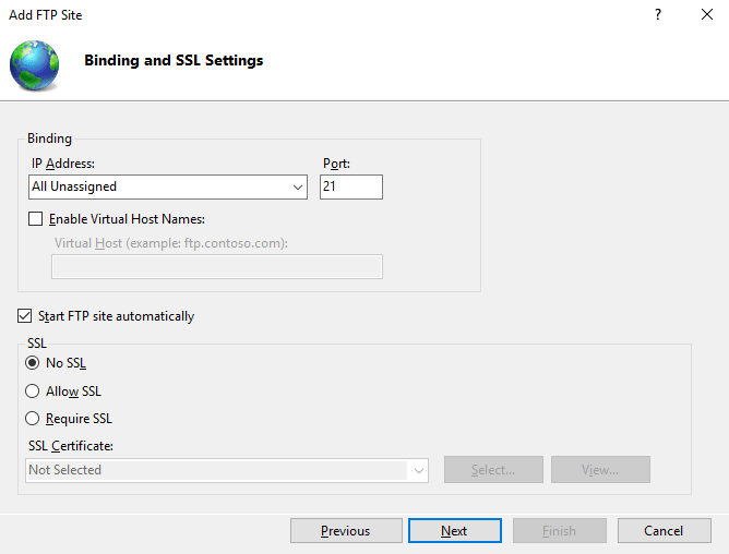 Bindings and SSL settings