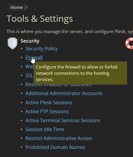 firewall tools and settings