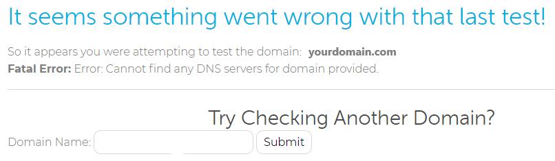 domain lookup error