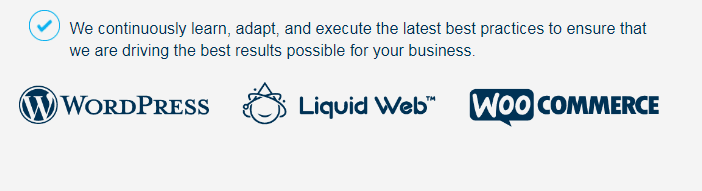 Powered by Liquid Web logo at the bottom of your website for affiliate marketing