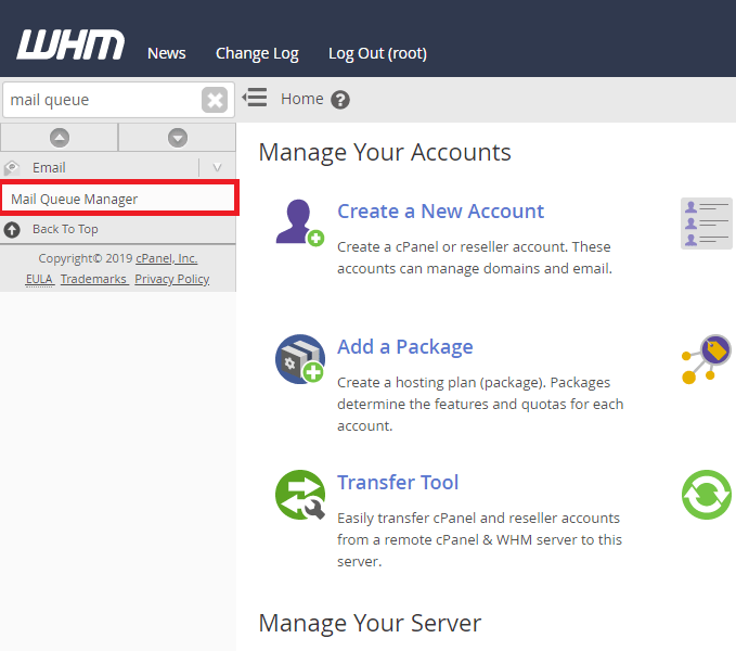 mail queue manager link in WHM