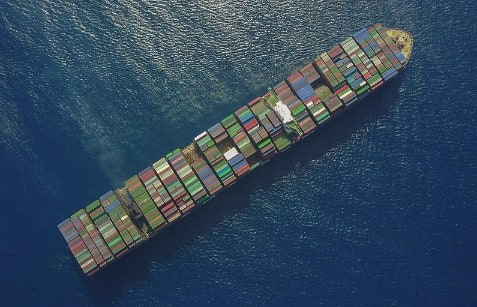 container ship on the ocean