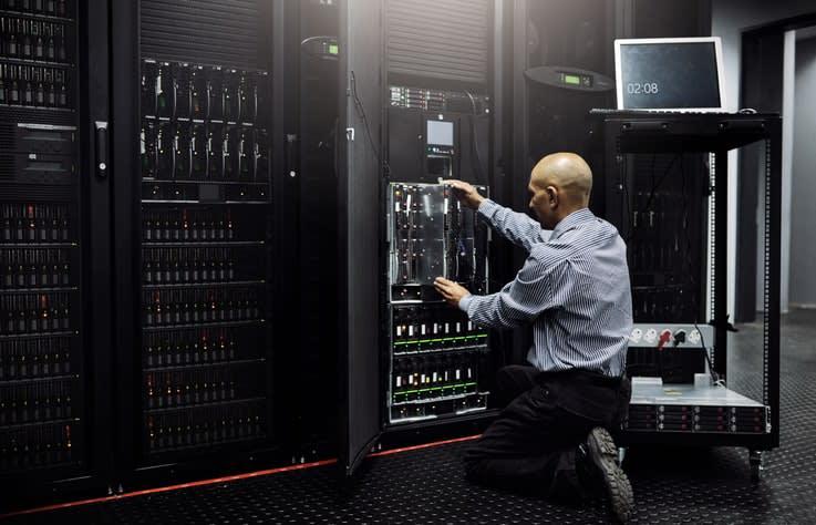dedicated servers secure behind locked cabinets