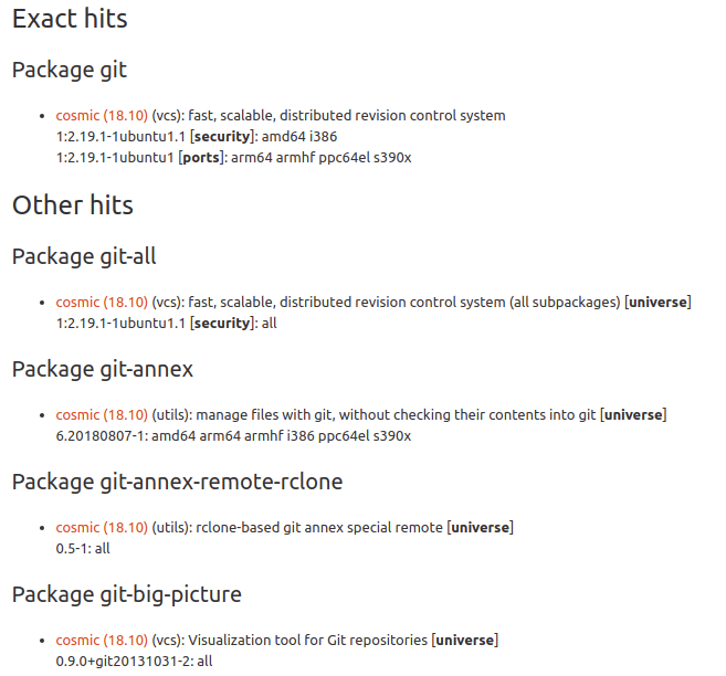 git search results