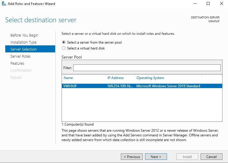 Select Destination Server