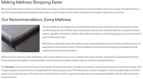 Zoma Sleep details their different types of mattresses and reasons why you should buy them.