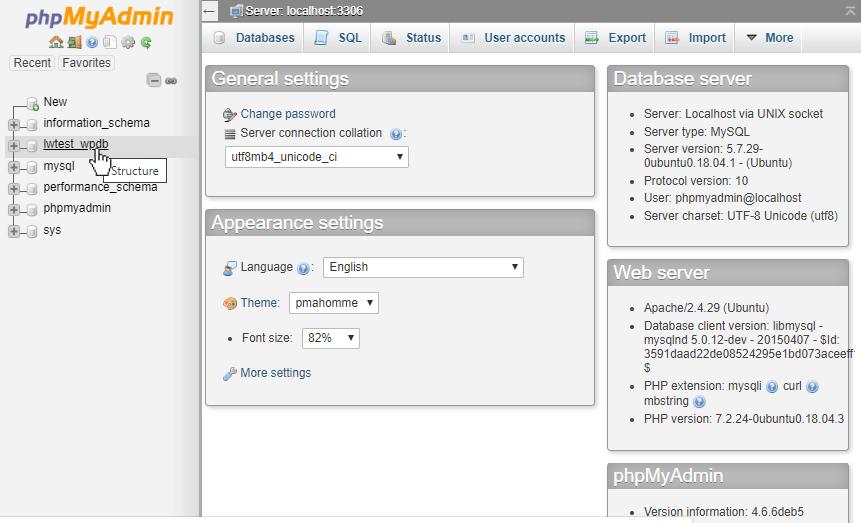phpMyAdmin_Main_Page