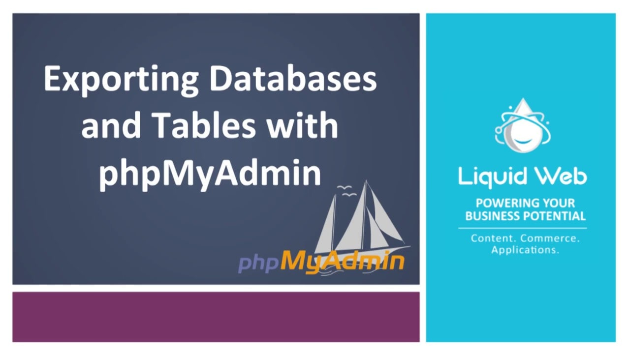 Exporting Databases and Tables with PhpMyAdmin