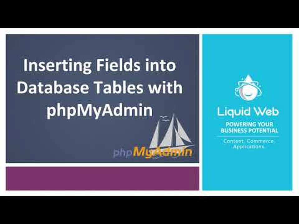 Inserting Fields into Database Tables with PhpMyAdmin