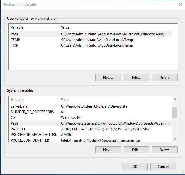 User and System Variables dialog box