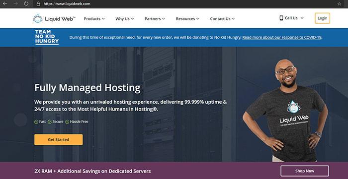 liquid web domain name and website homepage