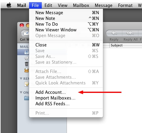 OS X Mail File Menu