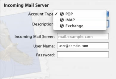 Mail Add Account 2 - Types
