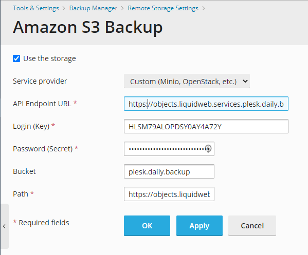 Custom S3 Backup