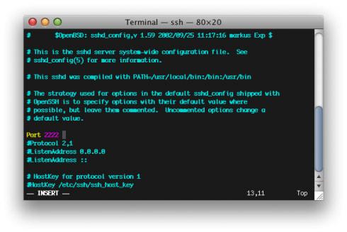 SSHd config port 2222