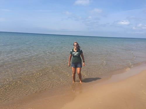 Nancy on a Michigan beach