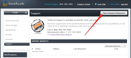 Create a new support request button