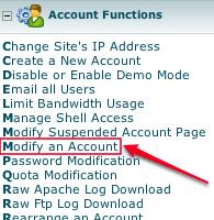 WHM Modify Account Screen