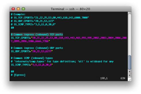 APF Ingress TCP Ports Conf