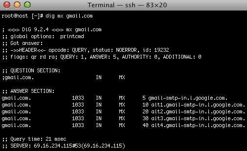 Dig MX Gmail.com Results