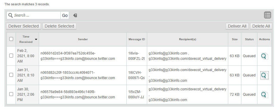 cPanel mail queue manager