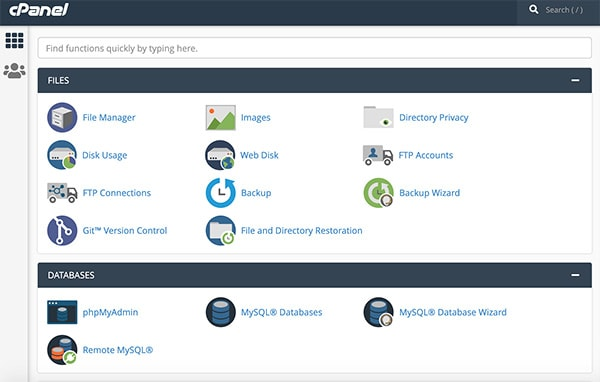 cPanel interface for Linux Hosting config