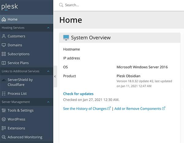 Plesk interface for Windows Hosting