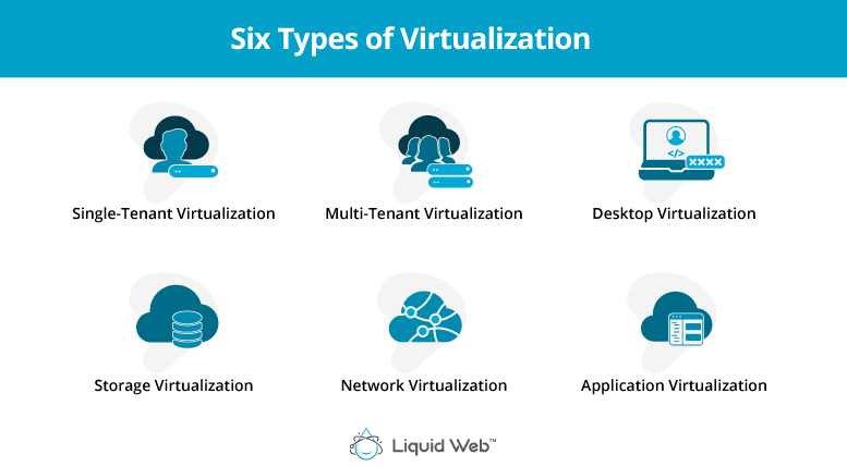 The six types of virtualization are single-tenant server, multi-tenant server, desktop, network, storage, and application virtualization.