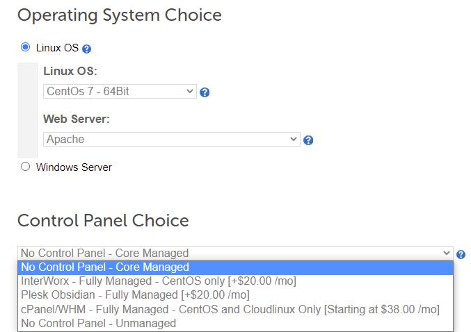 Step 3: Choose dedicated server OS and control panel